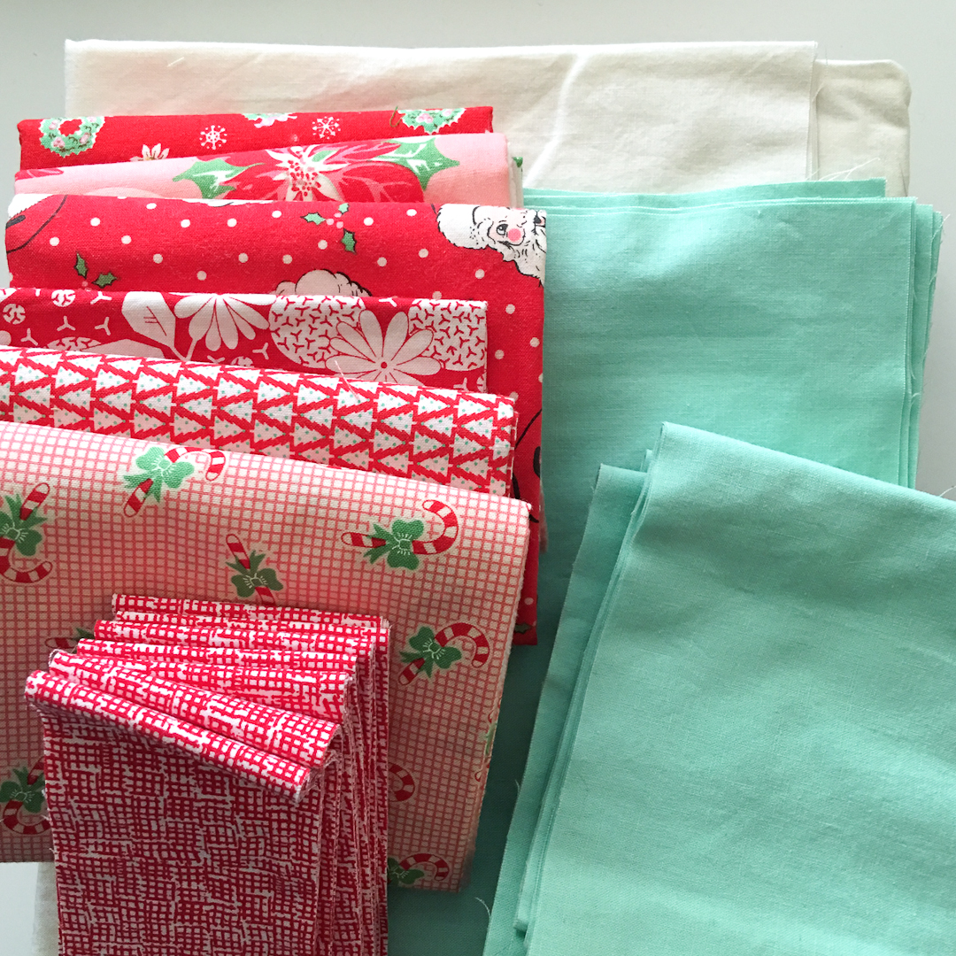 Peppermint Candy Christmas Quilt Fabric Pull via www.helloquilting.com