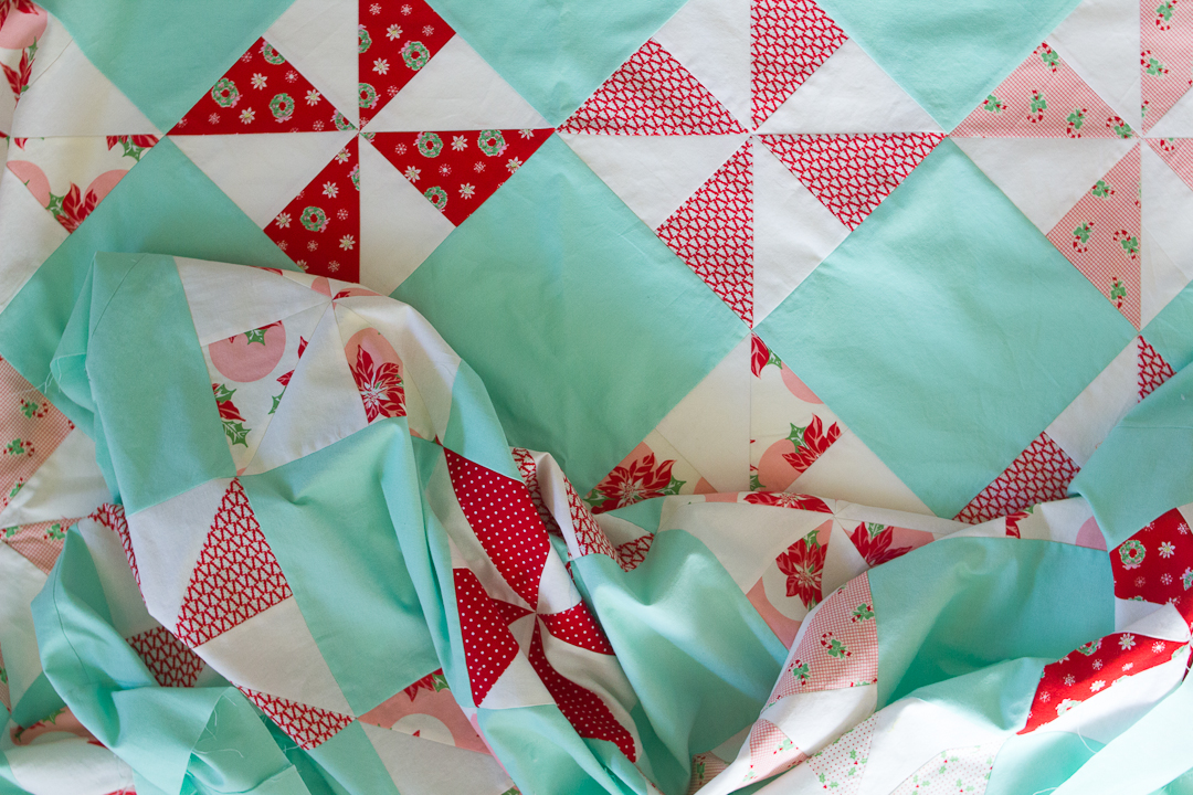 Peppermint Candy Christmas Quilt Top Finished via www.helloquilting.com