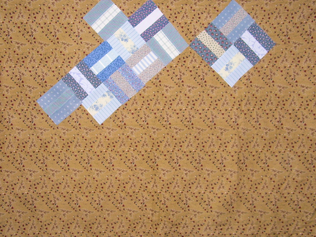 Red and Blue Post-and-Rail Fence Quilt Design Wall via www.helloquilting.com