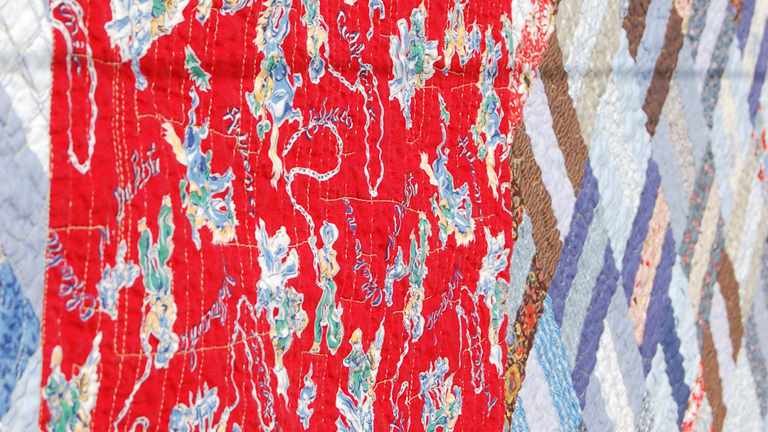 Red & Blue Post-and-Rail Fence Quilt via www.helloquilting.com