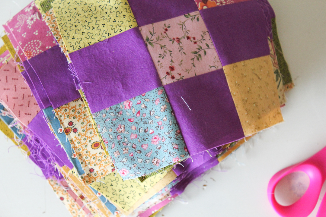 Purple Irish Chain Quilt Blocks via www.helloquilting.com