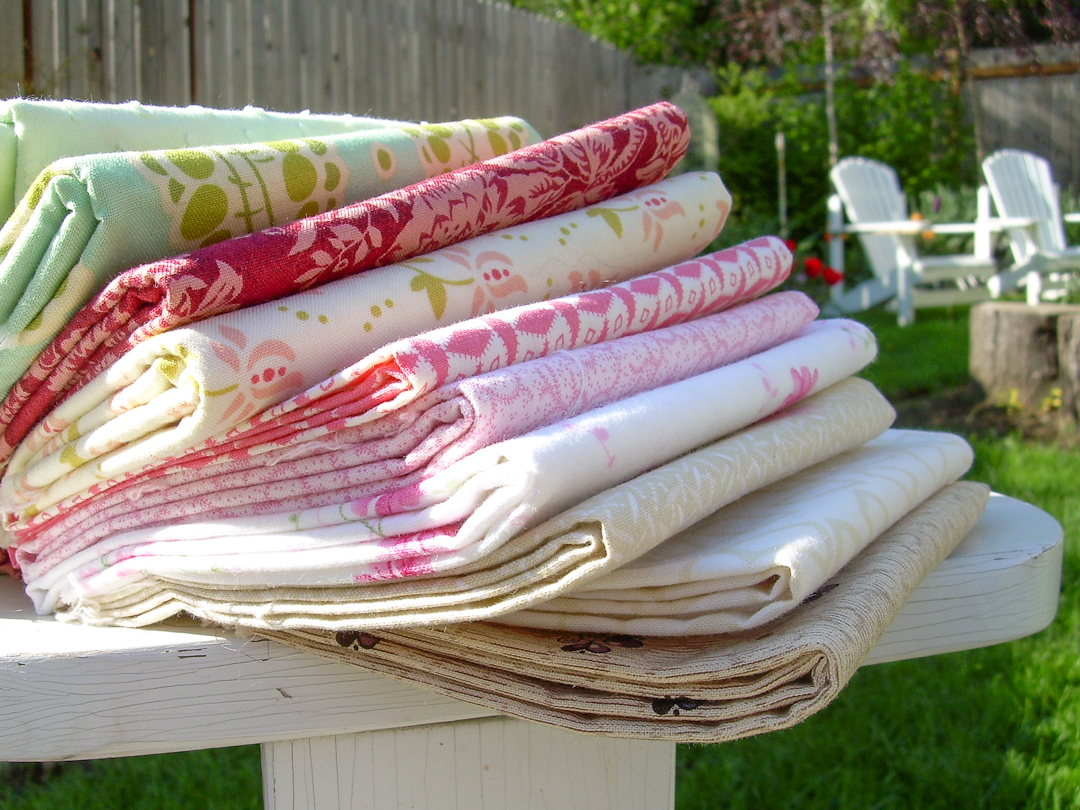 Aunt Grace and FreshCut Fabric Stack via www.helloquilting.com