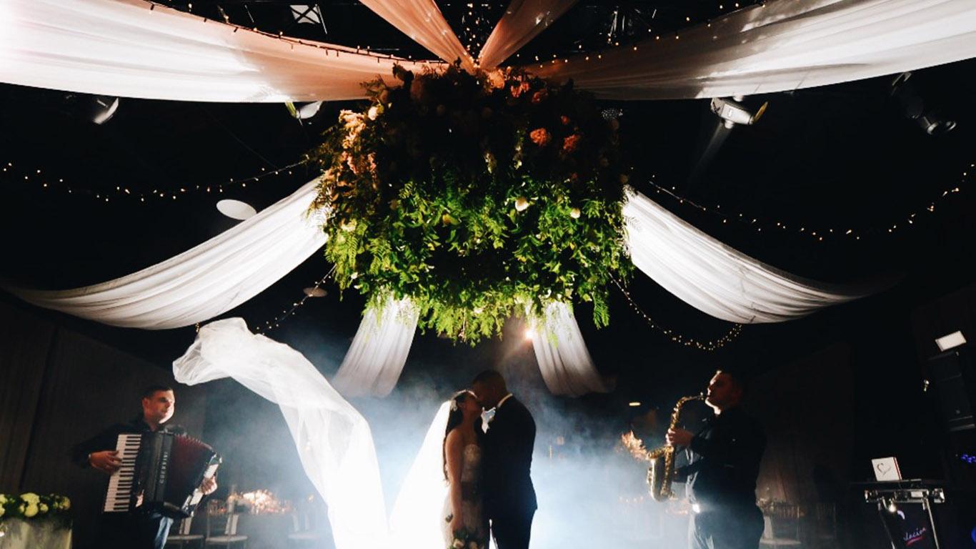 diy wedding reception ceiling draping