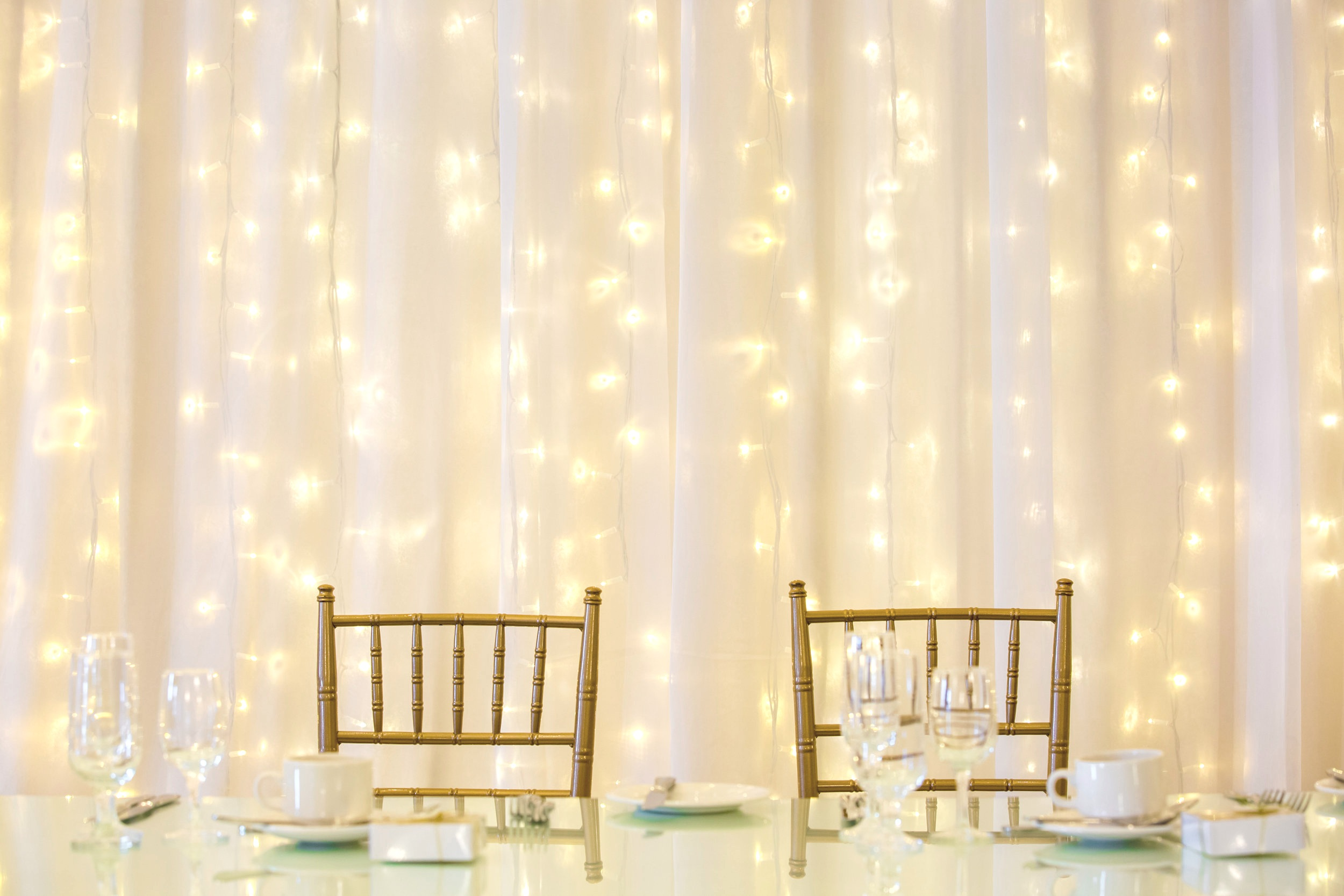 fairylight wedding backdrop