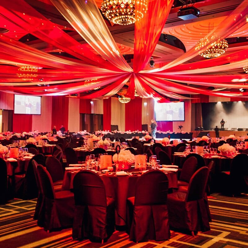 ceiling draping - Looking to add some sparkle and glamour to your event space? Our qualified riggers and stylists can bring your vision to life!