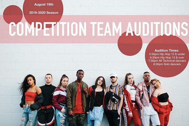 ARE YOU READY?! •  Competition team auditions for the 2019-2020 season are only 6 days away!!! •  We will see you August 19th!! •  Tag your friends or anyone you think should audition in the comments below!! ⬇️ ⬇️