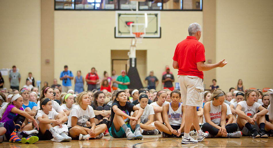 Don Showalter leading a basketball camp