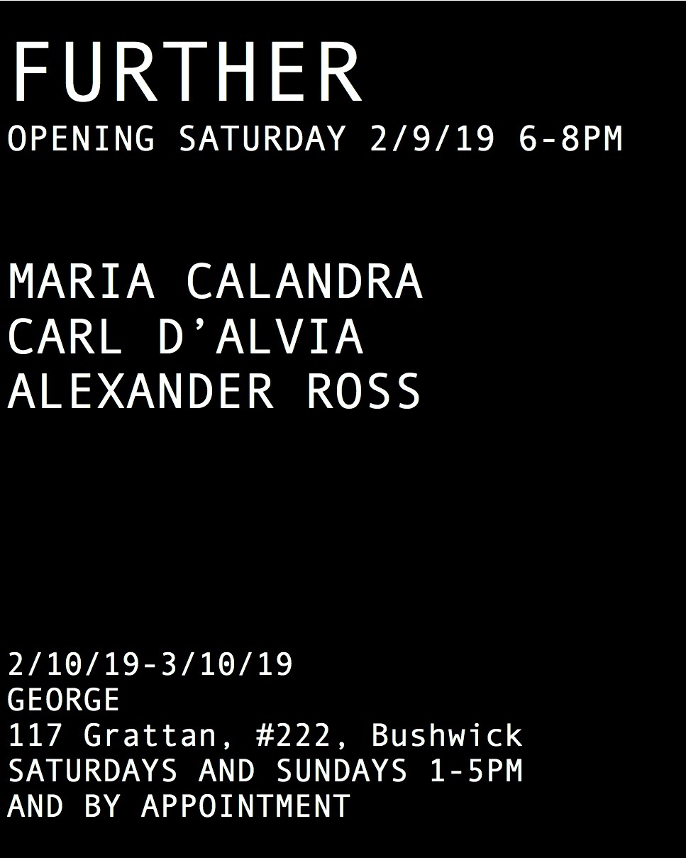 Further. Opening Saturday 2/9/19 6-8pm. On view 2/10/19-3/10/19, Saturdays and Sundays 1-5pm and by appointment. Location: George, 117 Grattan, #222, Bushwick.
