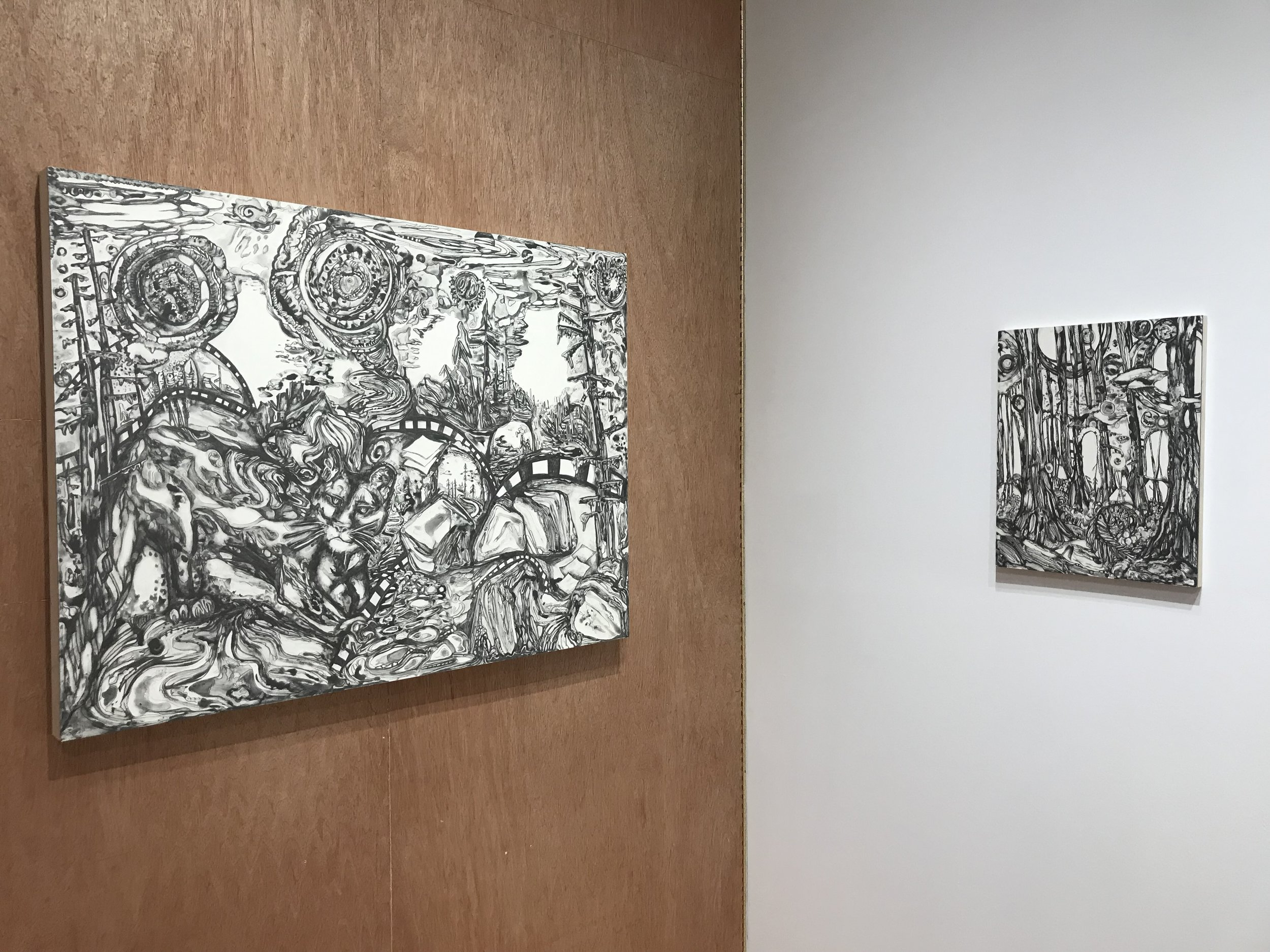 """Installation view of """"Yuba River Mountain Lion,"""" 2019 by Maria Calandra and """"Henry Cowell State Park, CA,"""" 2019 by Maria Calandra"""