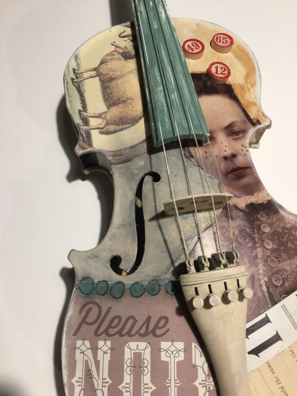 Metropolitan Youth Orchestra donation - As part of the 2017 fundraiser, I enjoyed turning this full size violin into a sculptural piece of collage art!