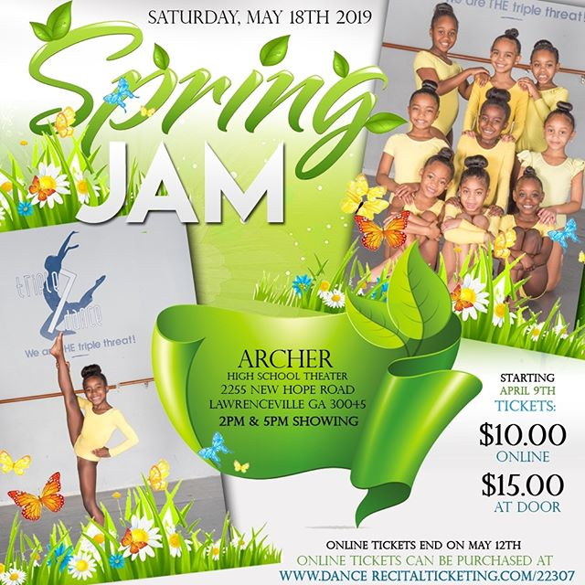 Our Spring Jam 2019 will be on Saturday, May 18th 2018 - (2) shows showcasing our dancers hard work! Get your tickets today! Link in bio.
