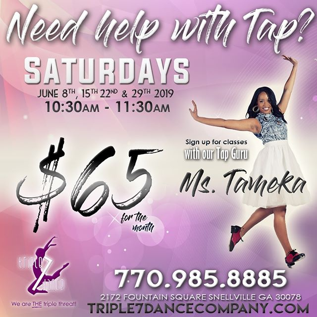 Need help with Tap? All levels welcome every Saturday in June. Contact the studio for more information.