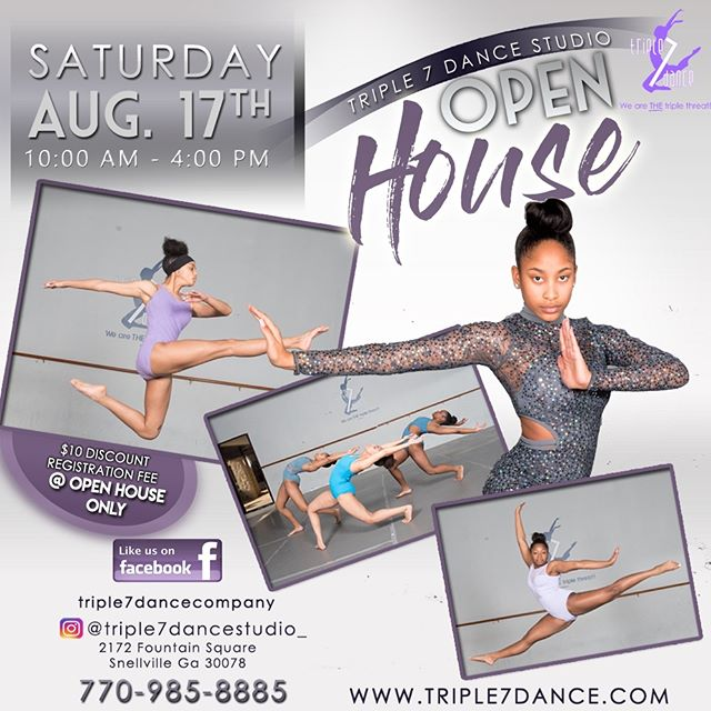 Register on August 17th 2019 with Triple 7 Dance Studio for an exciting season of musicals and performances. Accepting ages 2-18 years old. For more information call 770-985-8885