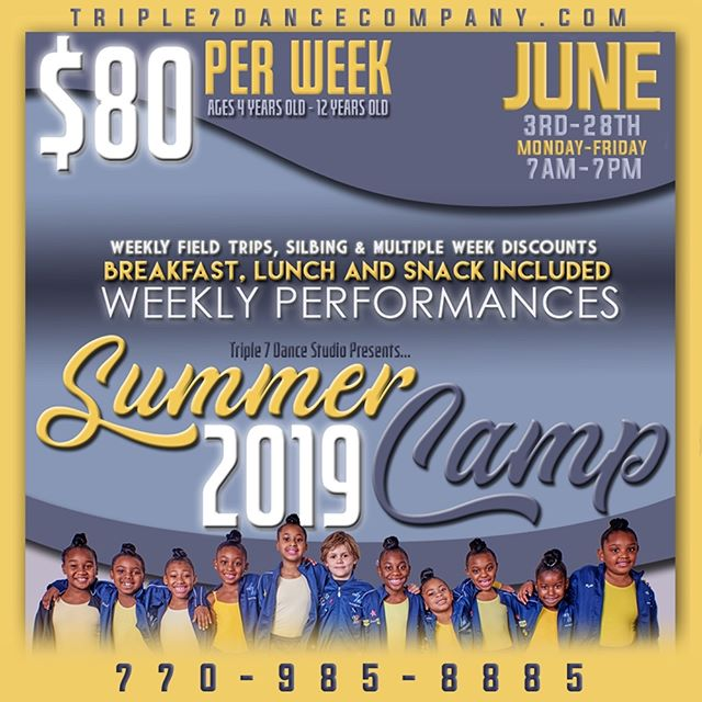 Spend the summer with Triple 7 Dance! Weekly performances every Friday. For more information call is at 770–985-8885 or dm us. #summercamp #dancesummer #snellville #grayson #lilburn #lawrenceville #loganville