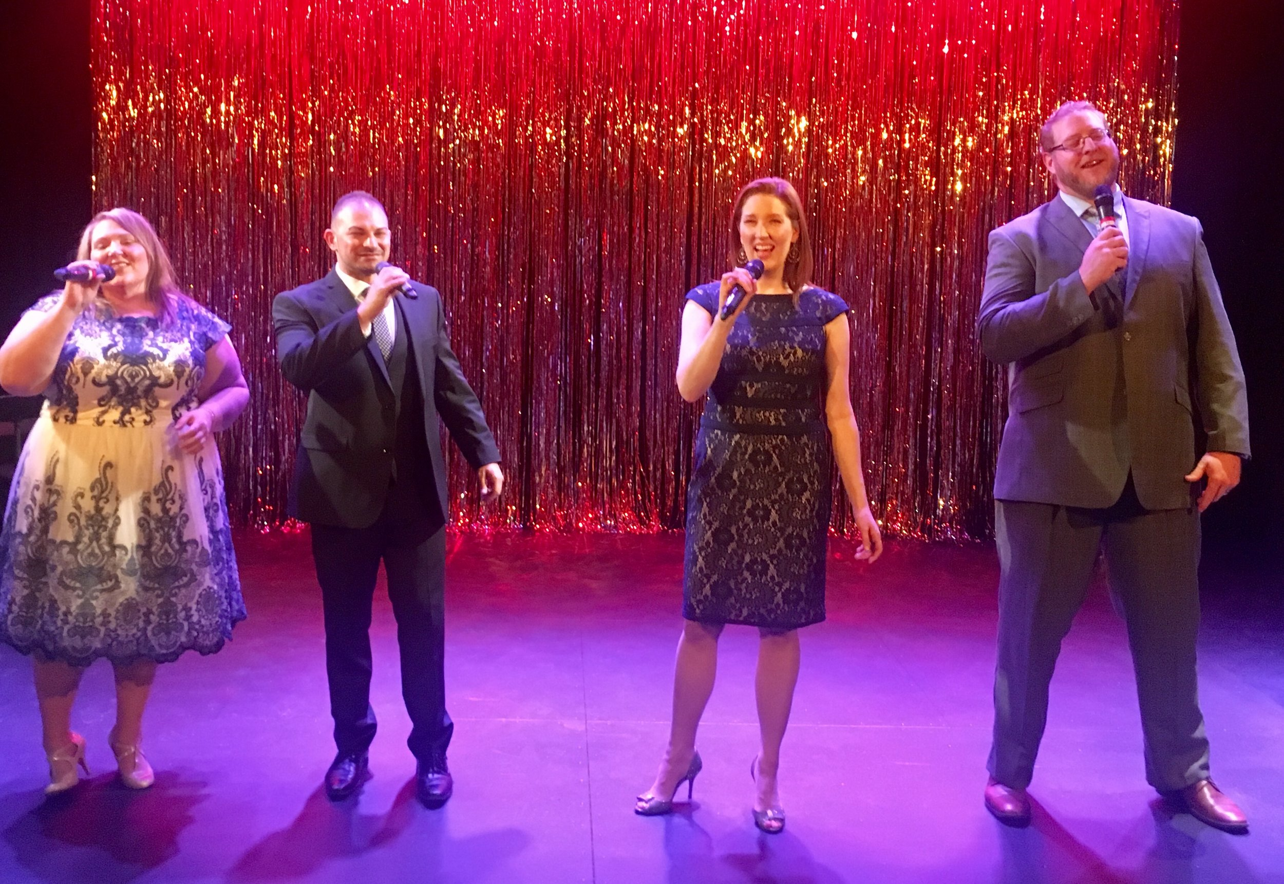"""From left: Traci Kern, Ryan Belinak, Melanie Horton, and TJ Hogle in """"Wine & Song: A Broadway Cabaret"""""""