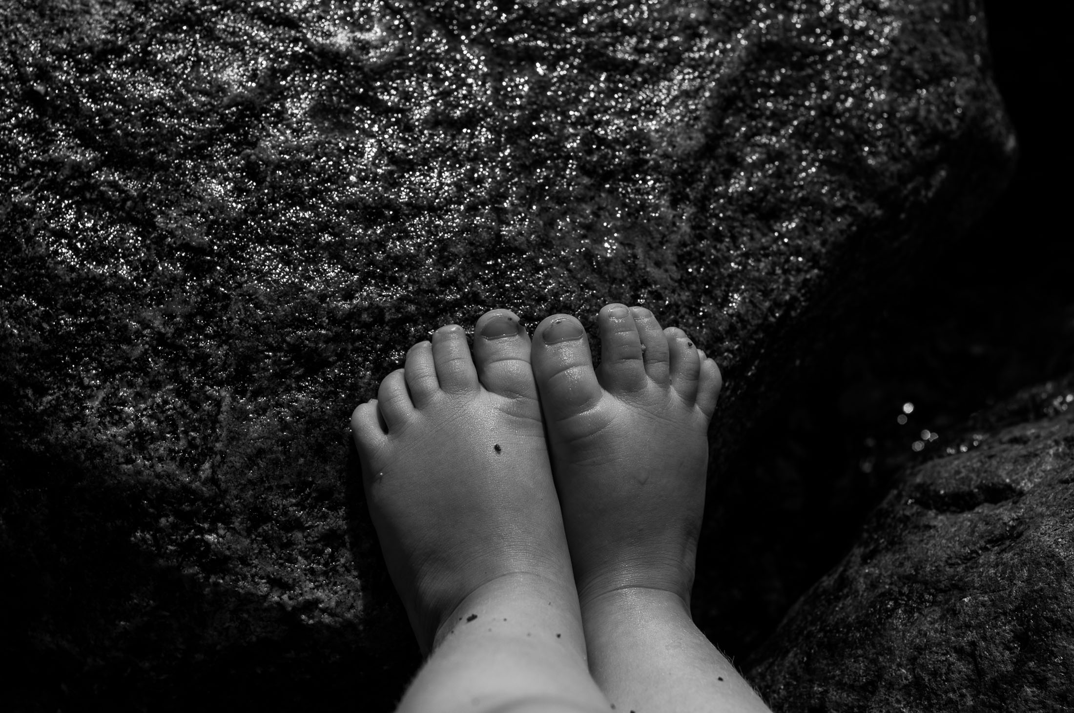 Tiny kid toes on a wet rock reflecting the bright light of summer. Photographed in Norway, 2017 by Kristine Nyborg / www.wildblueberryphotography.com