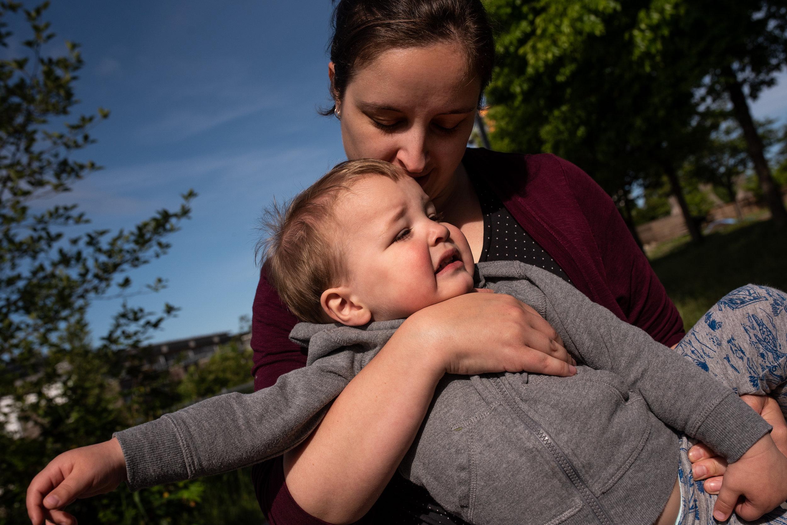 Toddler tantrum hug