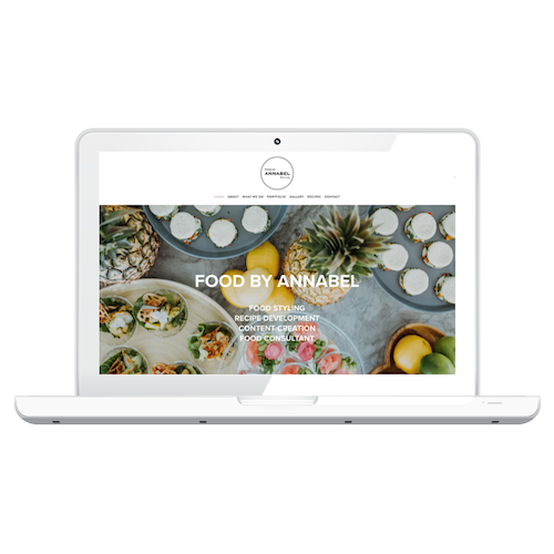 Food By Annabel - Minimal, elegant, monochrome with colour from images. Food style neater than Jamie Oliver less styled than Donna hay! Website work through Techno Bird.
