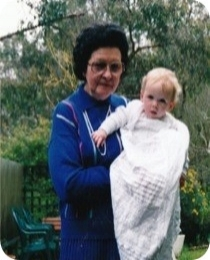 Nanny and me at my christening