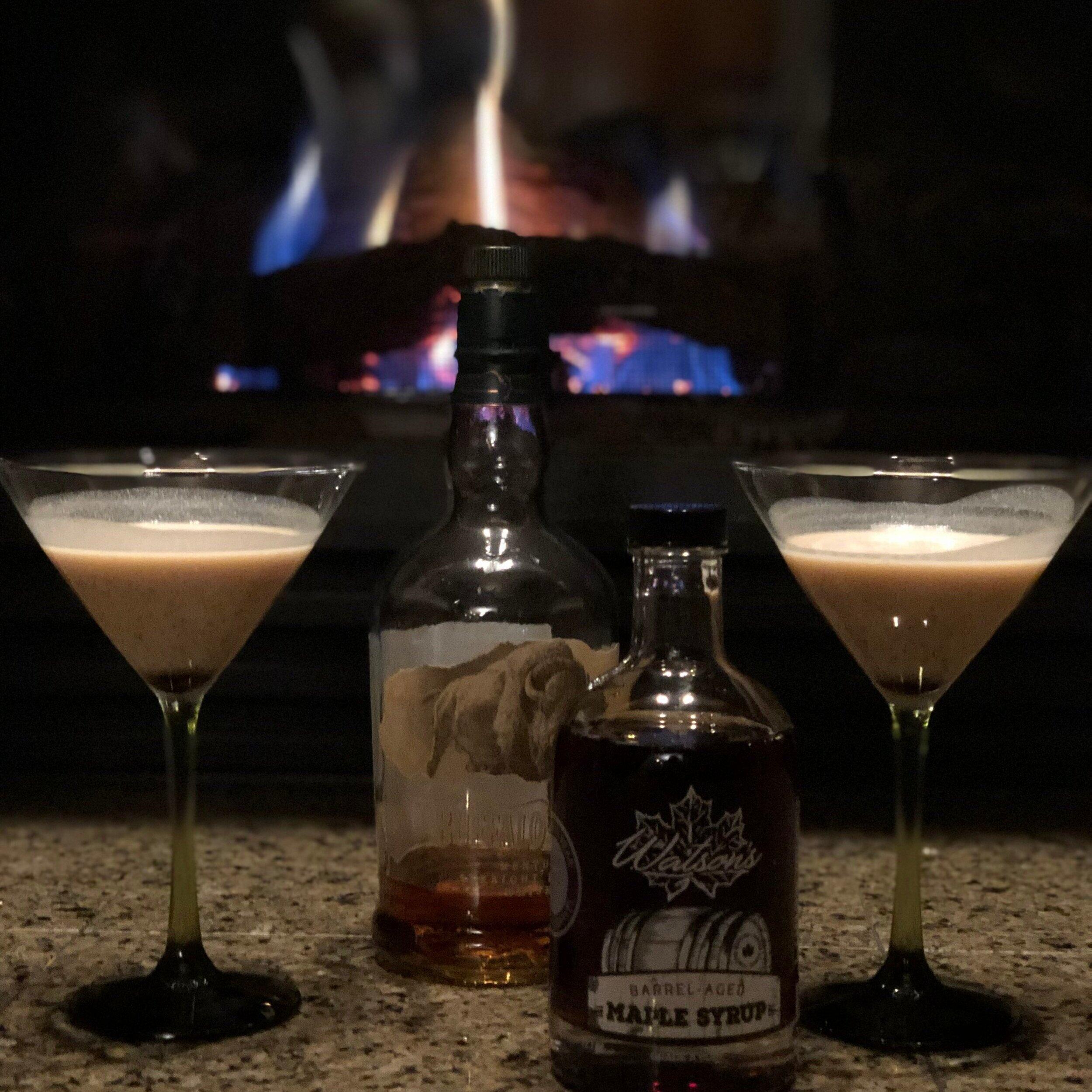 {Flamin' Barrel} - - 3 martinis- 5oz Buffalo Trace- 3 Luchardo Cherries with scoop of juice- 1.5oz Watson's Syrup- 1oz creamDash of Cinnamon, Clove, Cayenne and Nutmeg