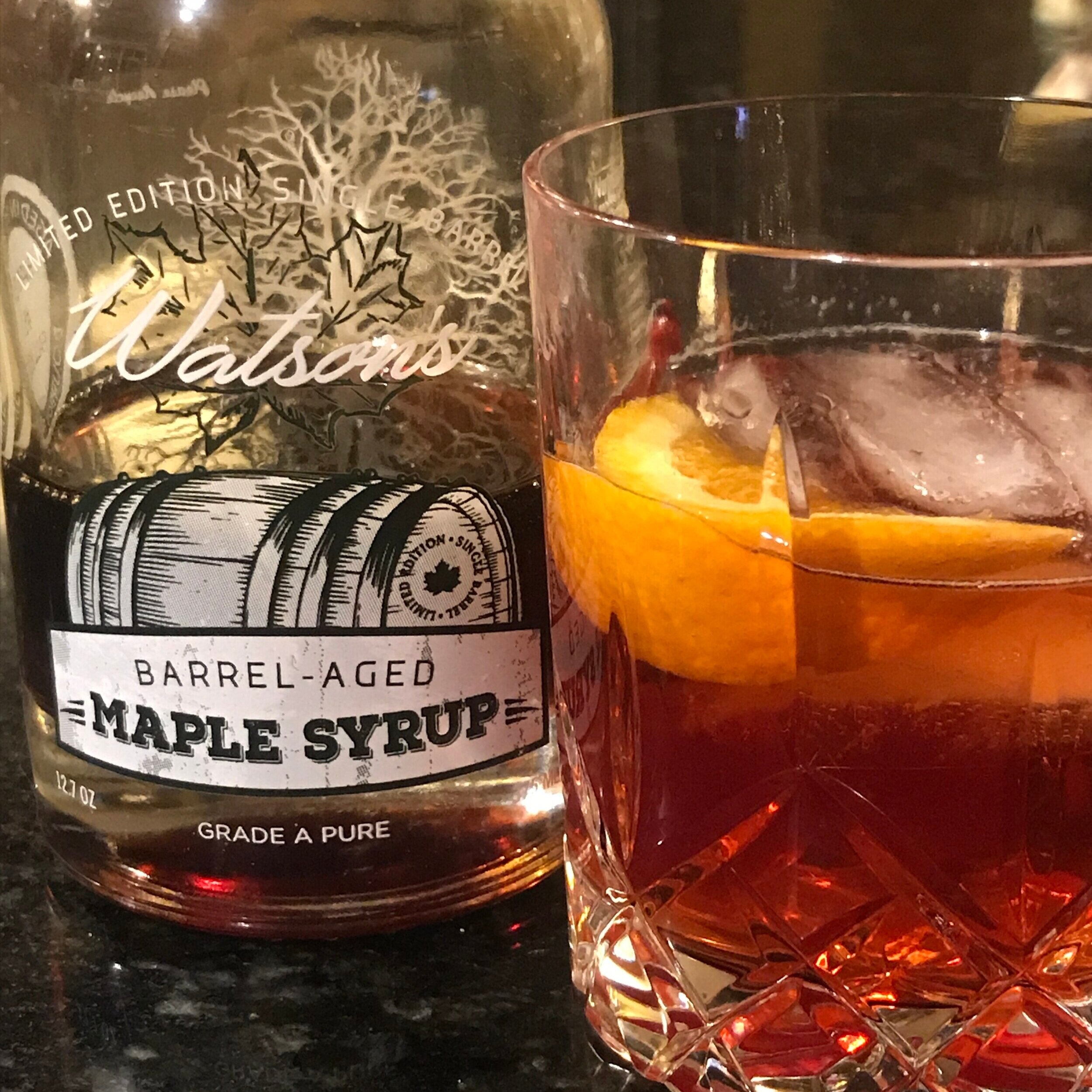 {Maple Old Fashioned} - - 2oz Bourbon- 4 dashes Bitters- .75oz Watson's Barrel-Aged Maple Syrup- Orange PeelCombine all over ice and stir until chilled and syrup is dissolved.Garnish with orange peel.Cheers!