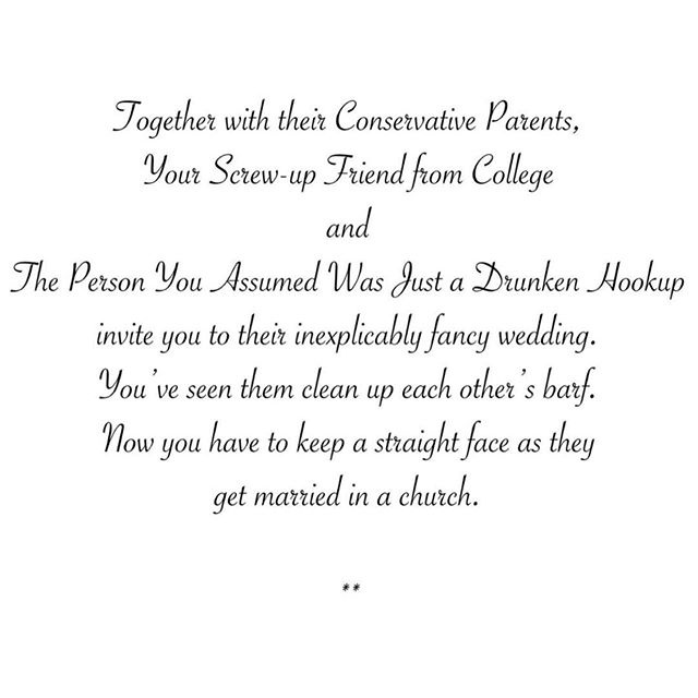 And now for something in time for the upcoming wedding season...these 'wedding invitations' by Willie Muse for @newyorkercartoons are brilliant and hilarious (and sorta accurate)!!! 😂 . . . #accurate #wedding #funny #newyorkercartoons #thenewyorker #weddinginvitations