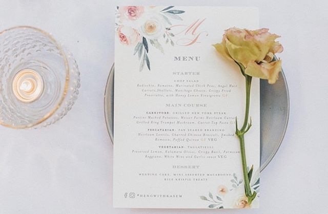 A rustic floral menu for Mike and Su-Ann's beautiful wedding at Malibu. Matching favor tags, stickers, custom place cards with antique gold wax seals complete their table setting. . . . . #hengwithkasem #wedding #sgwedding #destinationwedding #weddingstationery #stationery #weddinginvitations #weddinginspiration #weddingplanner #bride #dailydoseofpaper #invitations #instawedding #weddingday #weddinginspo #love #weddingdetails #graphicdesign #design