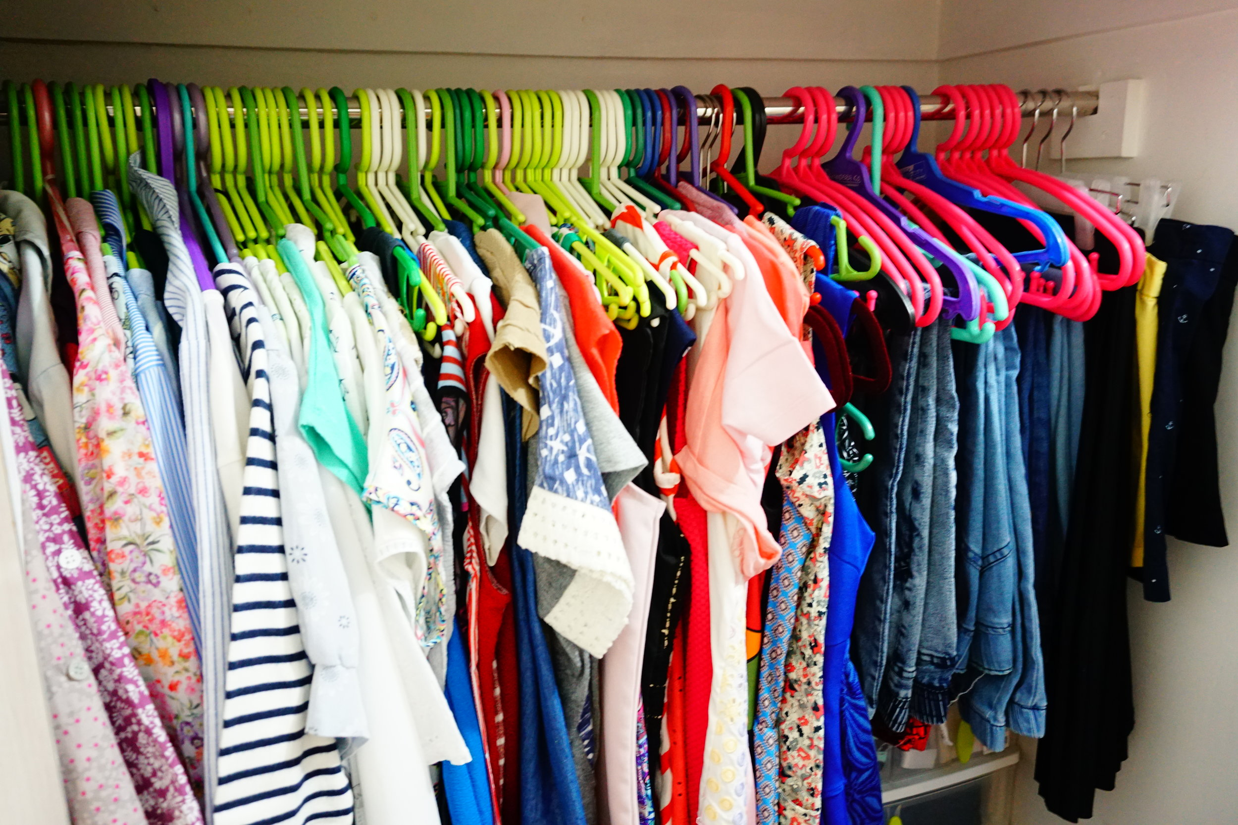 Almost all of my tops are hanged which made my closet looked so full