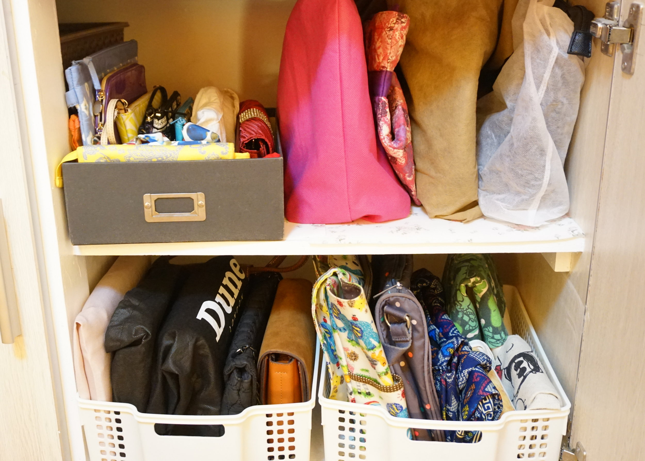 AFTER:  Now, my bags look so much comfortable in this cabinet!