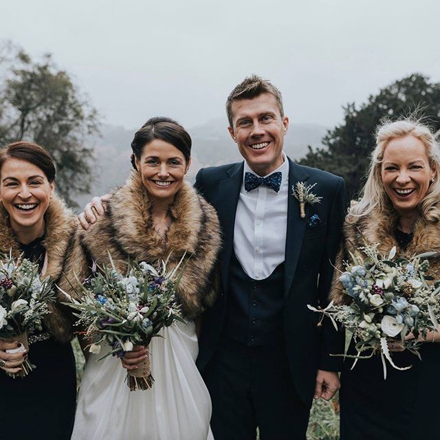 We love this photo of Helen, Stewart and their bridesmaids - November 2018 💗