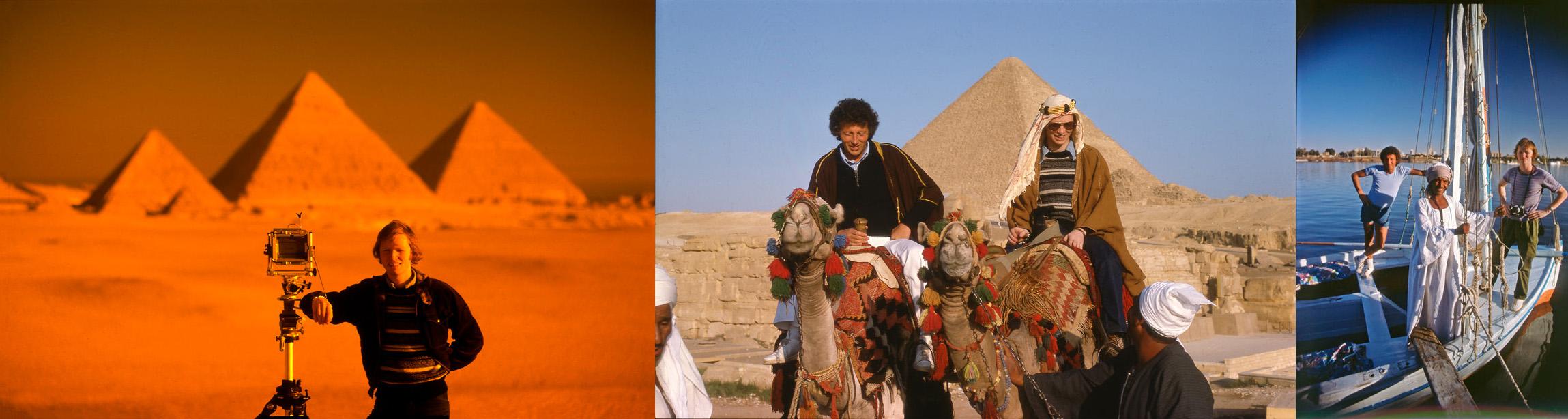 From left -   Alastair Laidlaw,  Neil Godfrey & Alastair Laidlaw   at Giza,   Neil and Alastair   at Luxor