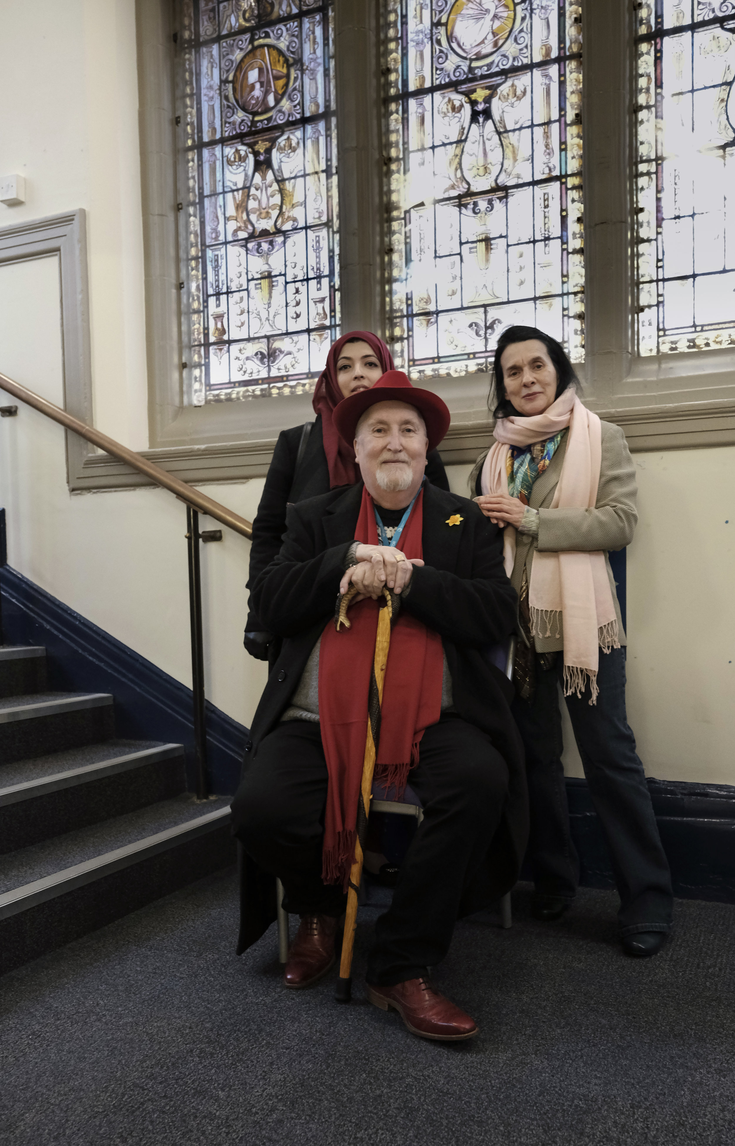 Pausing for a rest on the journey to the top floor of the Art College, James with Safina Iqbal and Christine Marsden