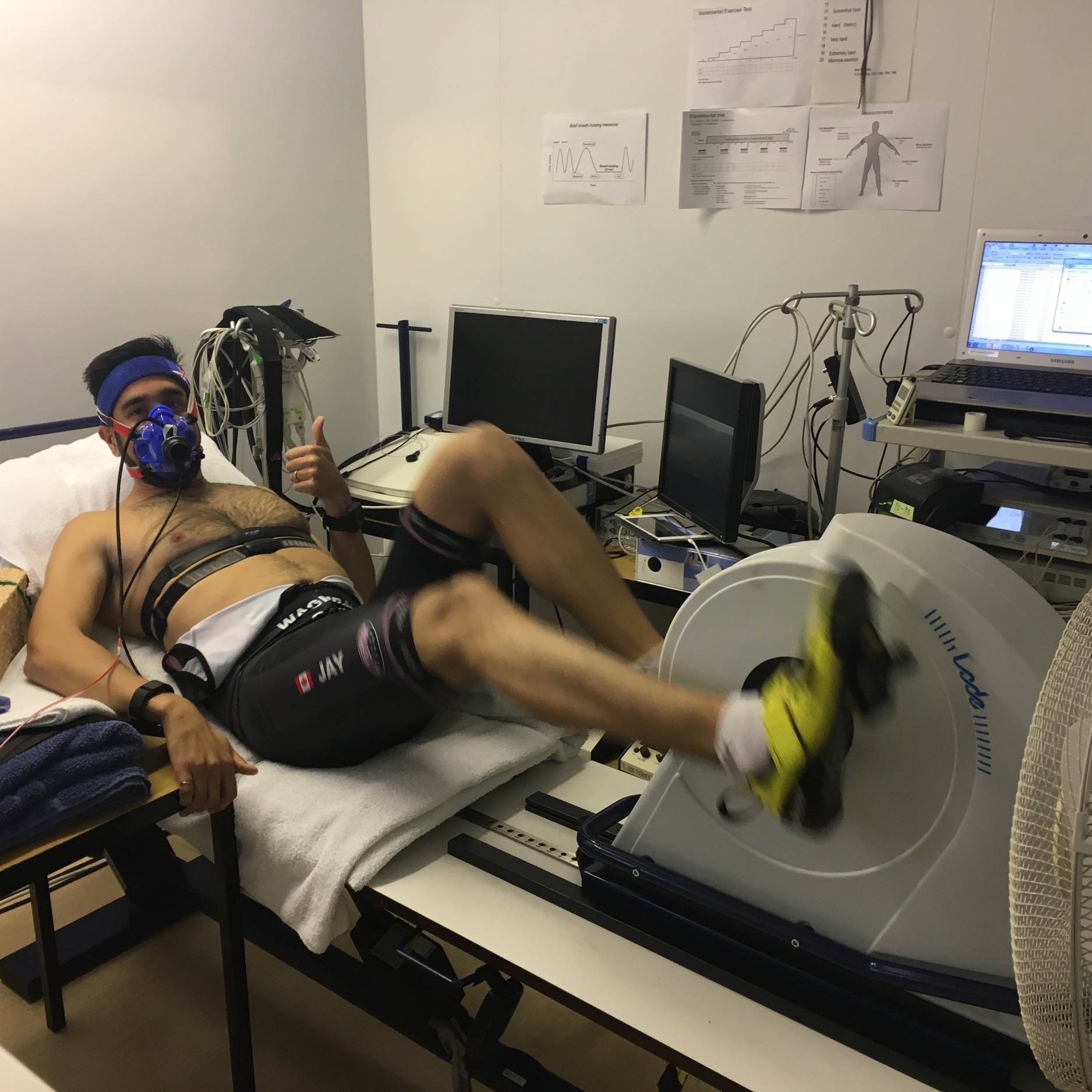 A recumbent bike was used for this test – with Jay sporting his #CRTpink custom trisuit