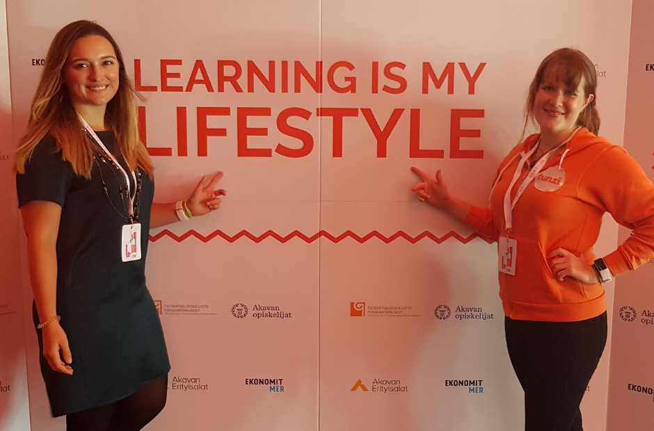 Two girls at dare to learn event finland.png