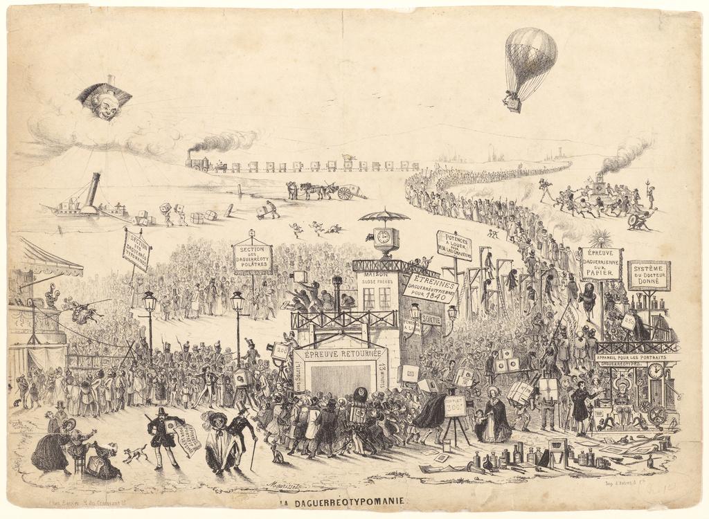 Théodore Maurisset (French, active 1834 - 1859) / La Daguerreotypomanie (Daguerreotypomania) , December 1839, Lithograph / 26 × 35.7 cm (10 1/4 × 14 1/16 in.) / Gift of Samuel J. Wagstaff, Jr. / via  J. Paul Getty Museum
