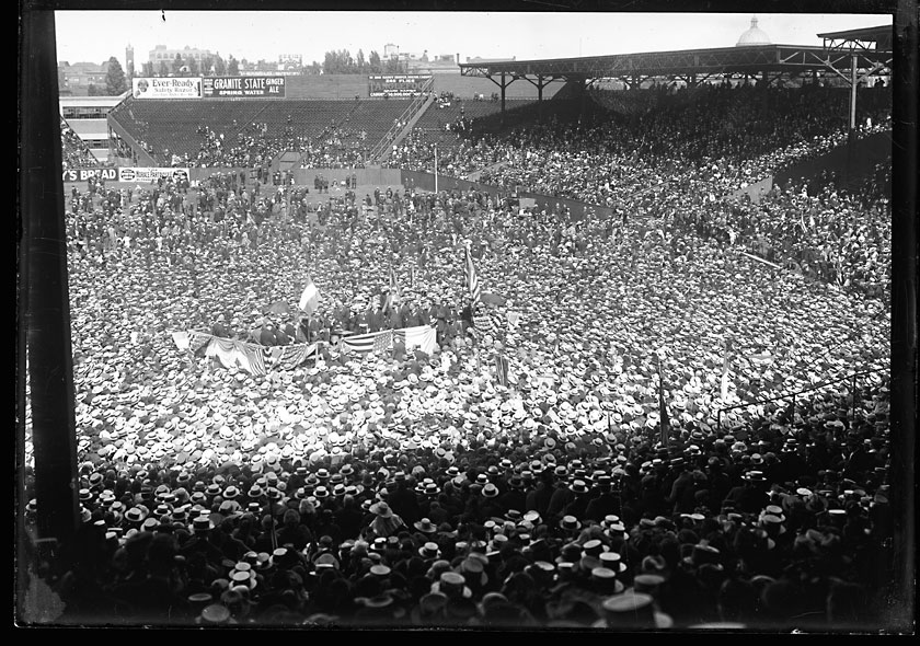 Eamon De Valera speaking to a crowd of over 50,000 people at a rally in Fenway Park, home of the Boston Red Sox baseball.