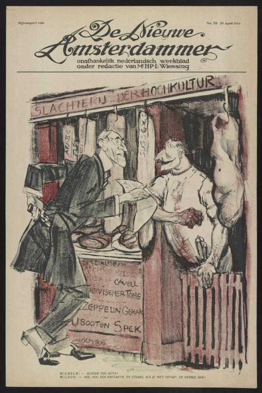 Woodrow Wilson depicted in a cartoon called the 'Slaughter of High-Culture'..german butcher.(LOC)