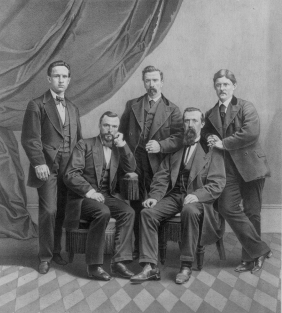 John Devoy with The 'Cuba Five' (L-R): John Devoy, Charles Underwood O'Connell, Henry (Harry) Mulleda, Jeremiah O'Donovan Rossa, and John McClure. (Library of Congress)