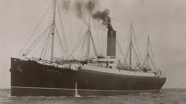 RMS Carpathia, which went to the rescue of the sinking Titanic on the night of April 15th, 1912