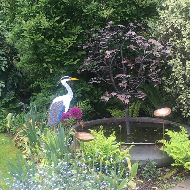 My favourite make of the year, my glass heron!  Inspired by the Dulwich heron who landed in my garden. Bird watching friends say I should be able to have fish in the little fountain thing now as heron will think it's a rival!