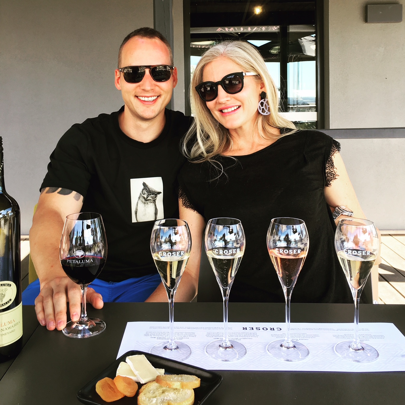 Enjoying some of Australia's best wines at  Petaluma Winery