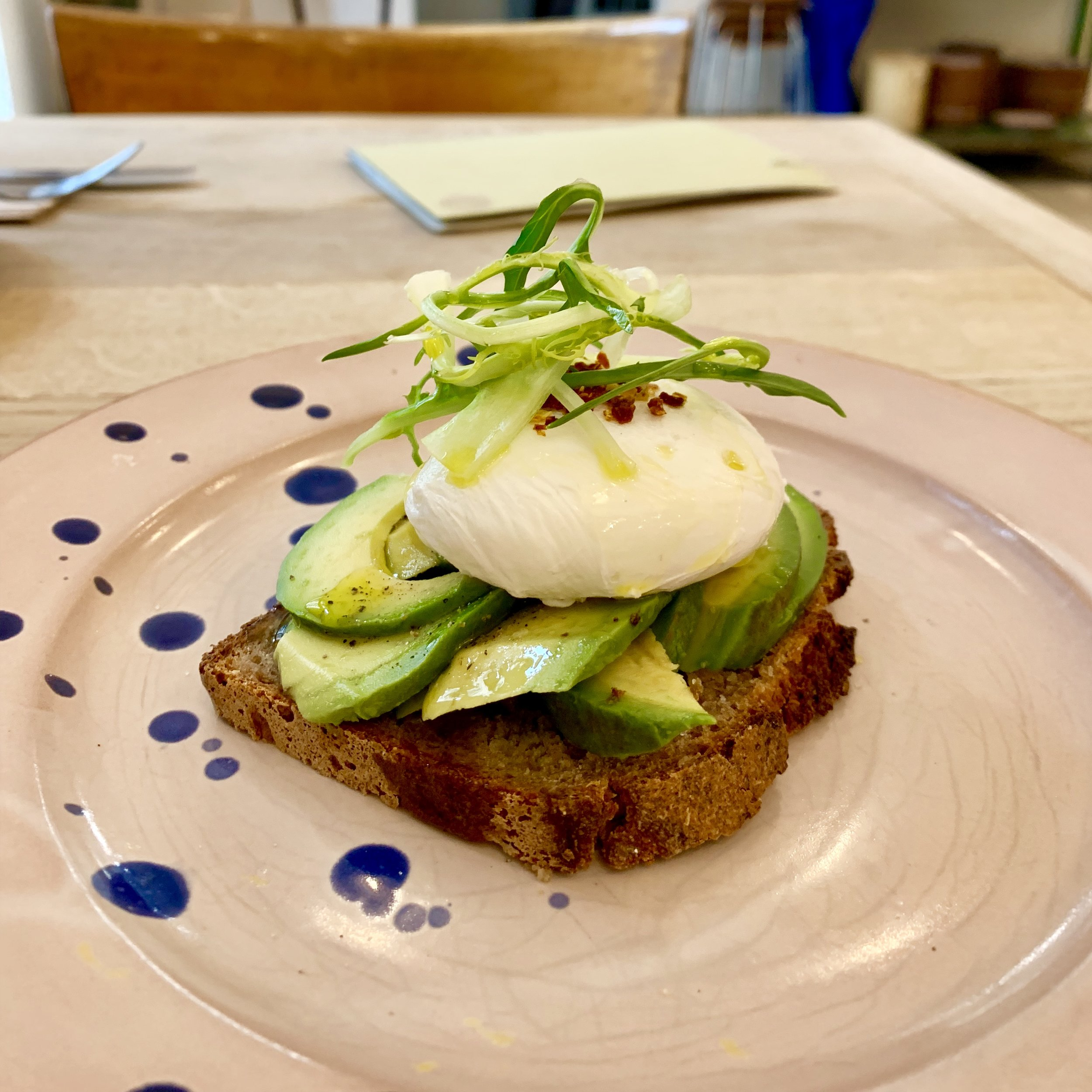 Avocado on rye + poached egg and chilli