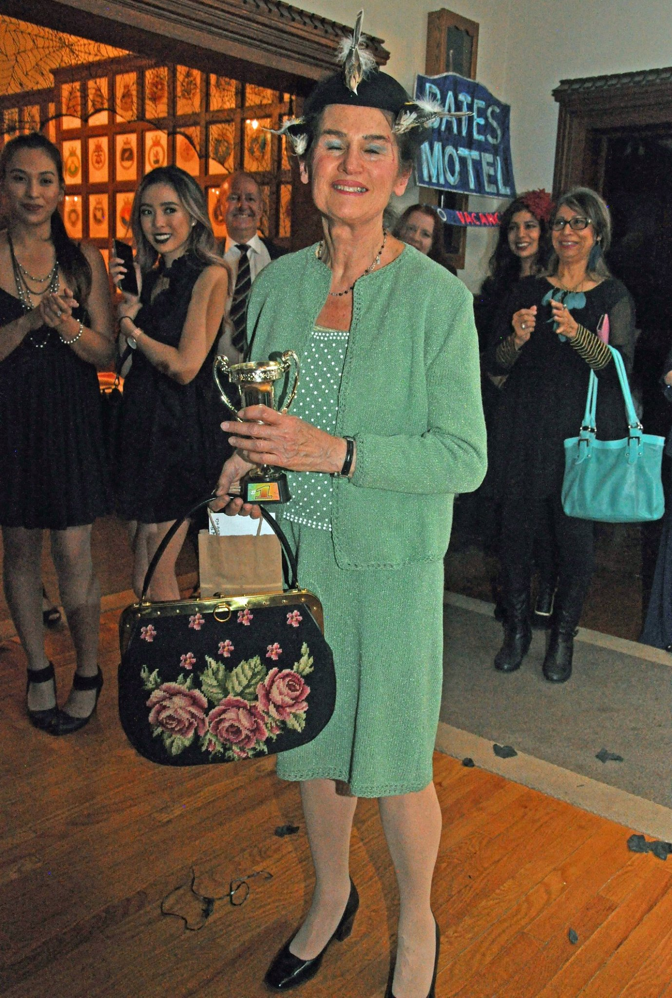 BEST IN COSTUME   It's no surprise who won the  'Best In Costume'!   Sandra Handler, whose Mother's handknit green suit resembled that of Tippie Hedron's, was like being transported back in time.  Thank you to  Rest Nest Float Club  and    The Fix & Co.  for donating to her prize.