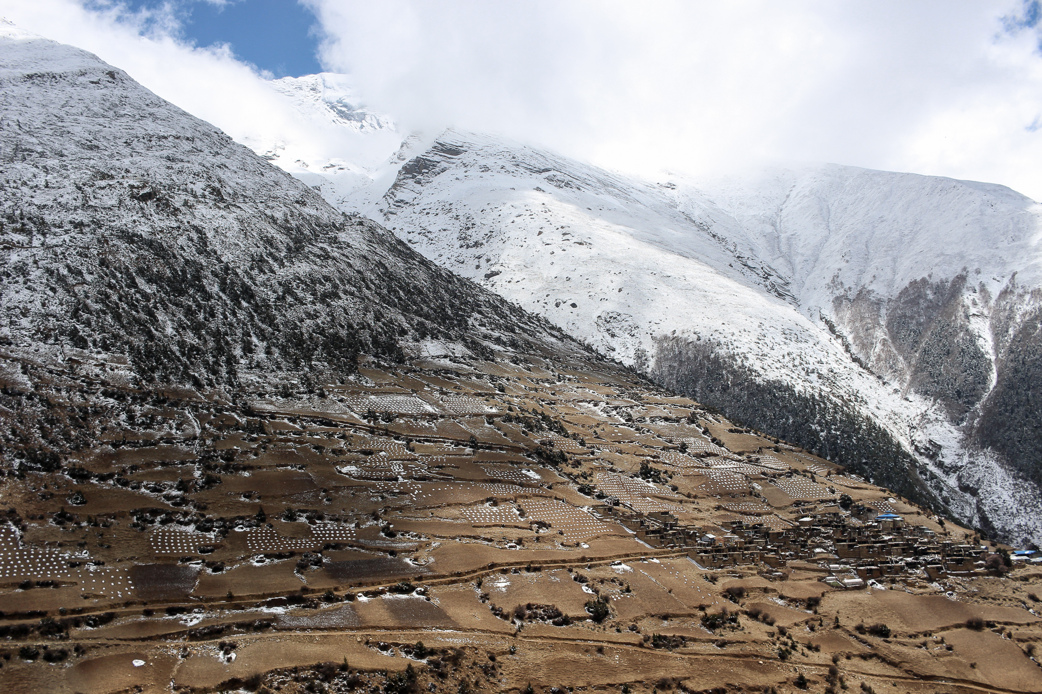 Upper Pisang village on the Annapurna Circuit after a sprinkling of snow overnight