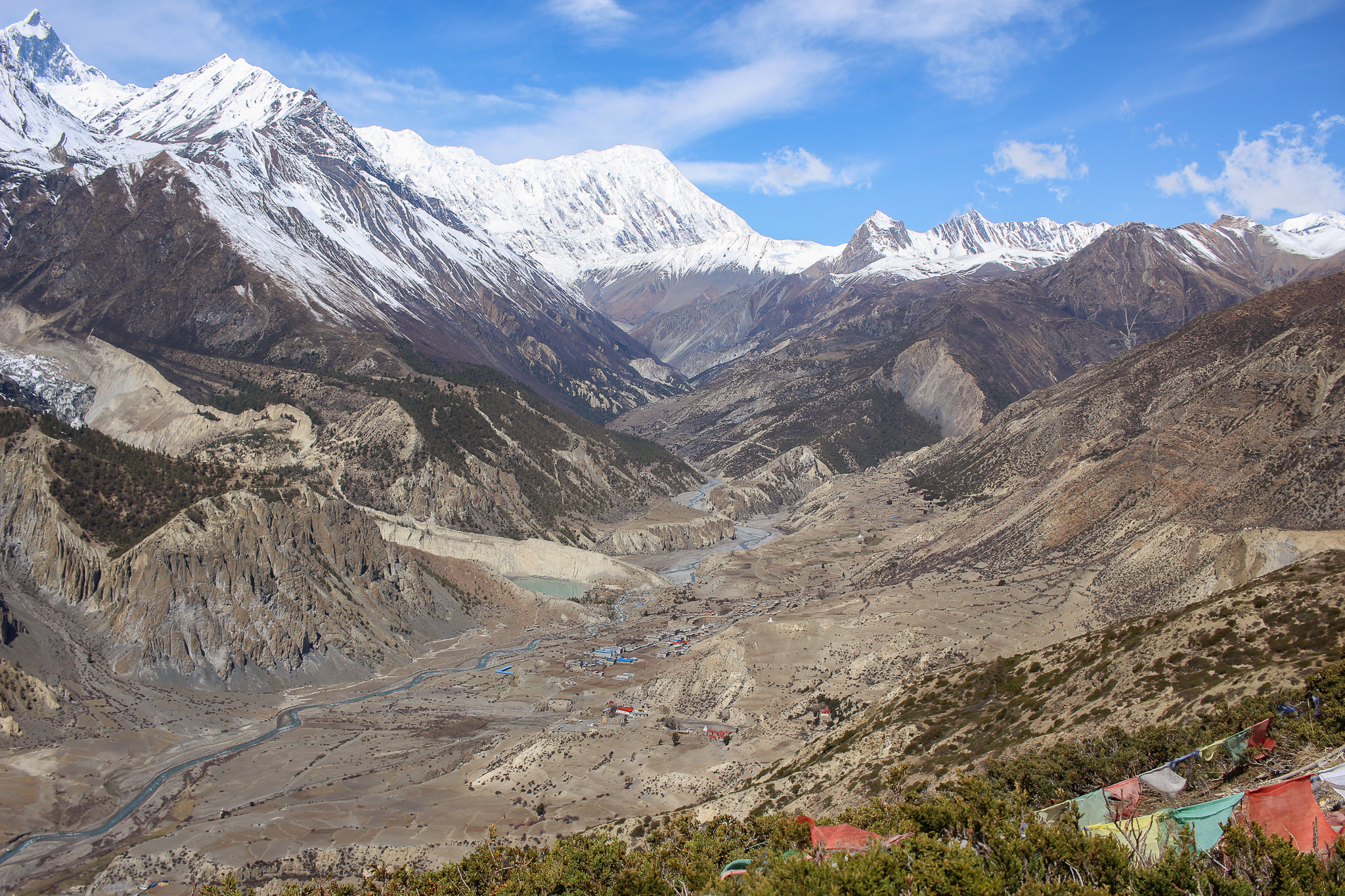 A view of the Manang Valley on a side trek up to Kilcho Tal ice lake