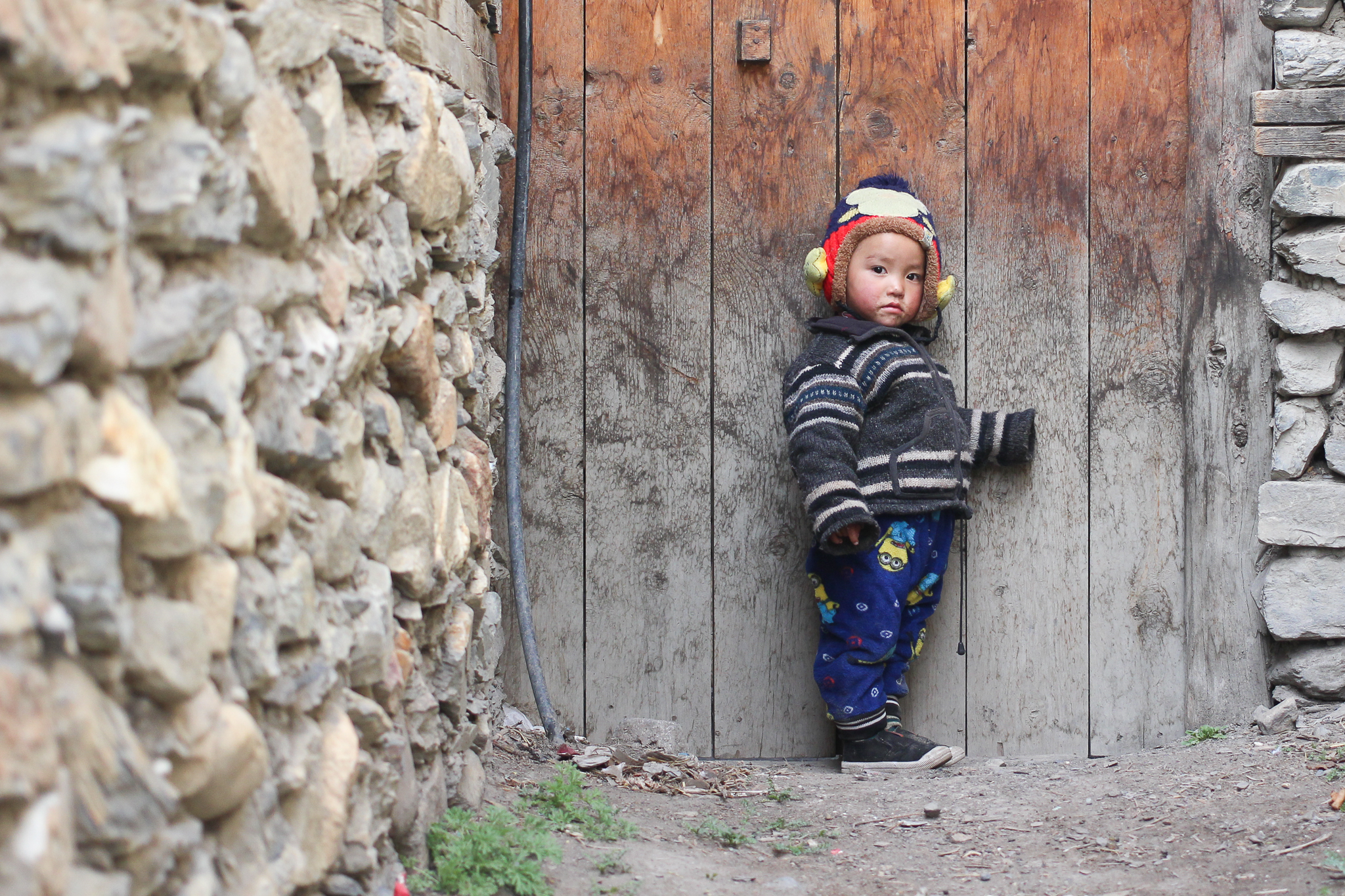 A little boy in Manang, a village at 3,519m where trekkers stop to acclimatise for a couple of days
