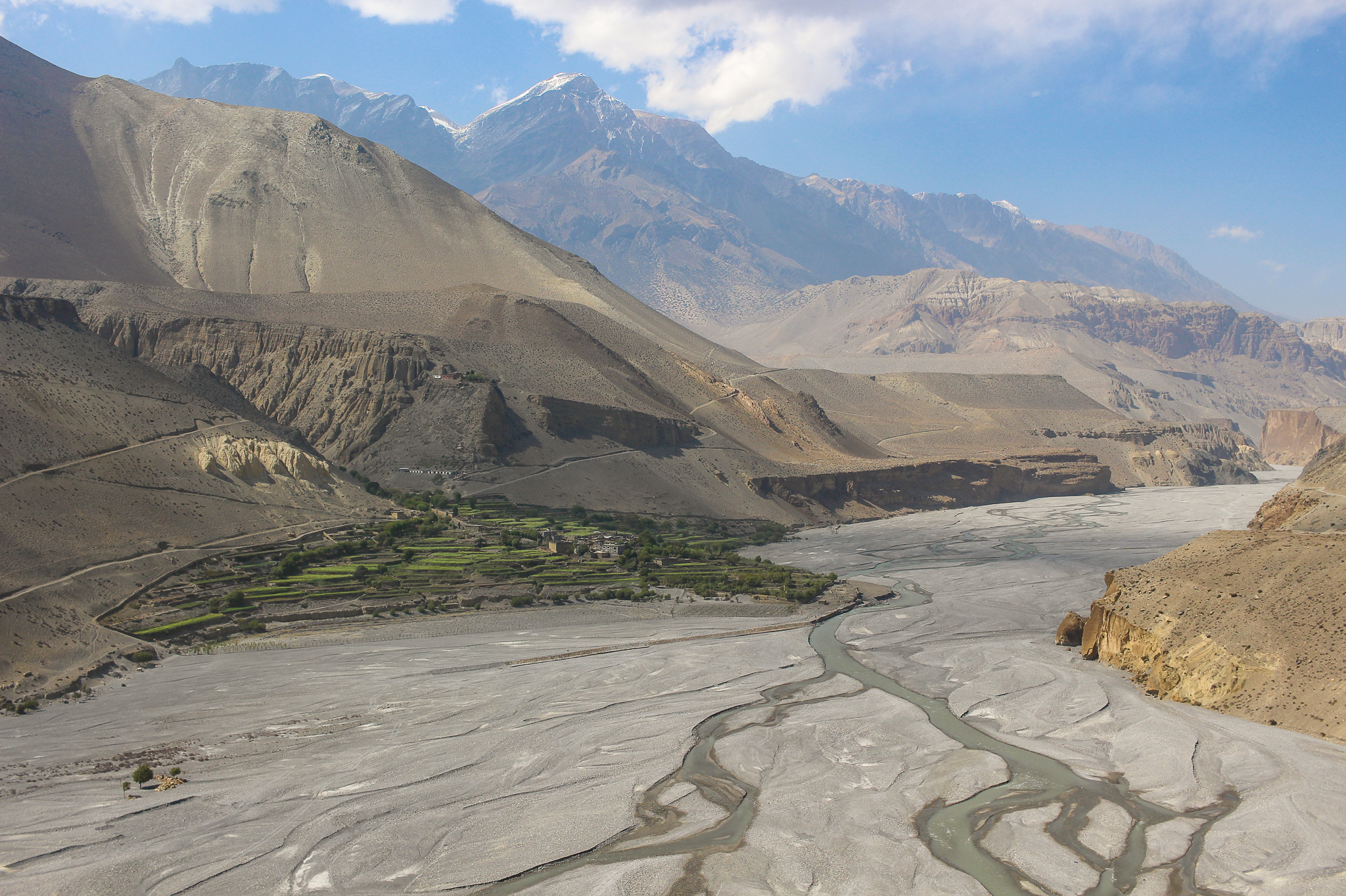 A little oasis called Tiri in Upper Mustang, which you can reach by walking along the Kali Gandaki river basin