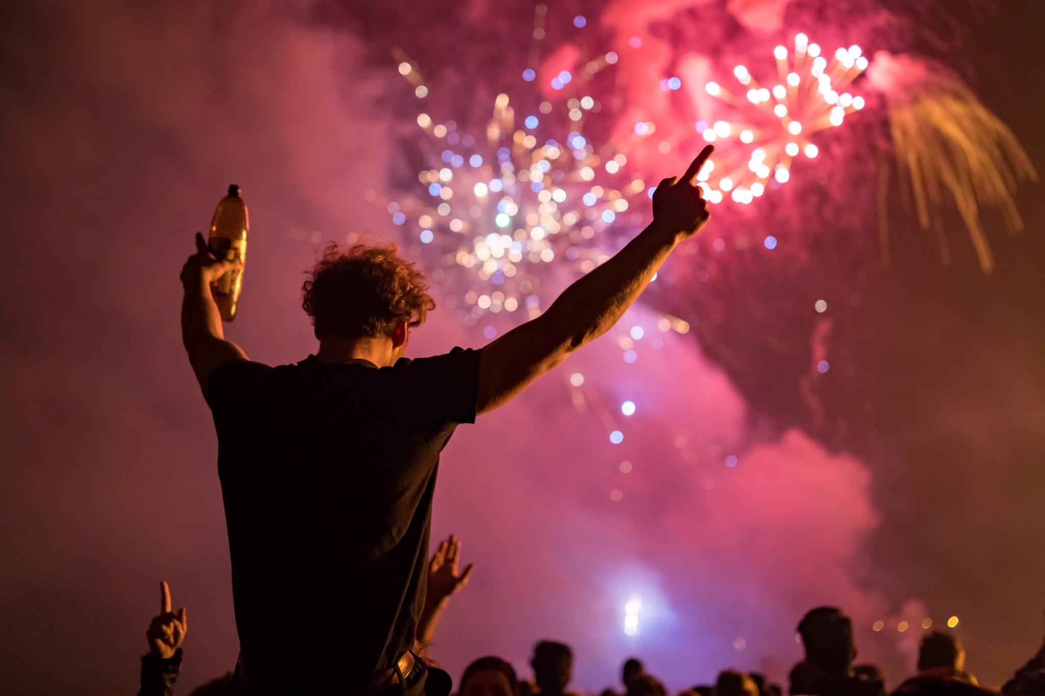 Revellers enjoying Cliffe's epic firework display
