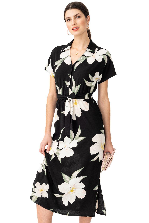 Floral Button-Front A-line Midi Dress