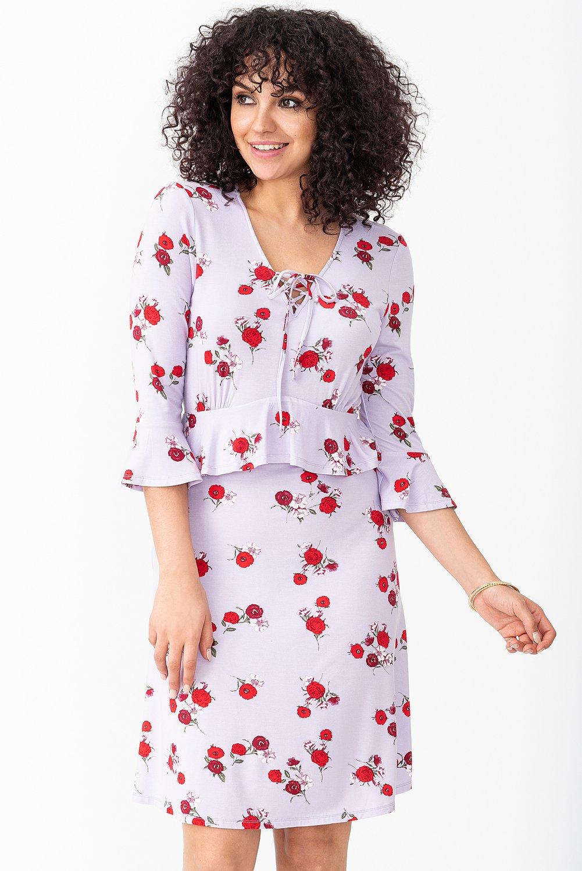 Floral Bell-Sleeved Skater Dress with Lace-up V-neck
